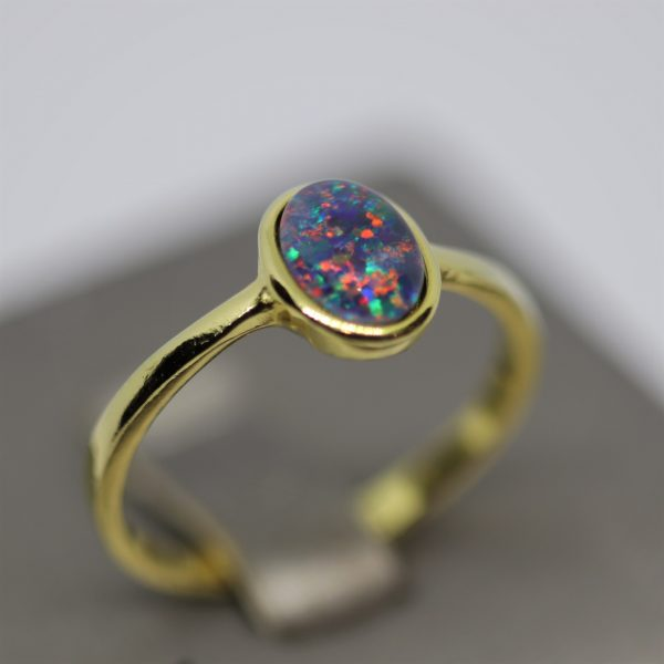 Minimalist Triplet Opal Gold Plated Red & Purple Ring