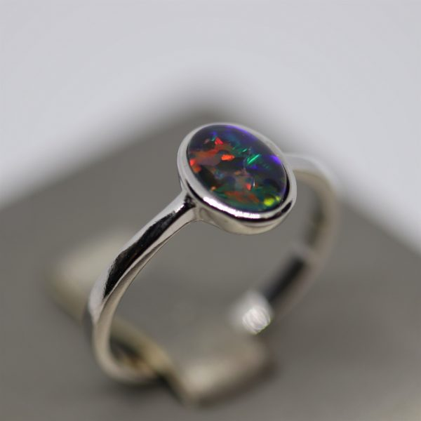Minimalist Triplet Opal Silver Purple, Red & Green Ring