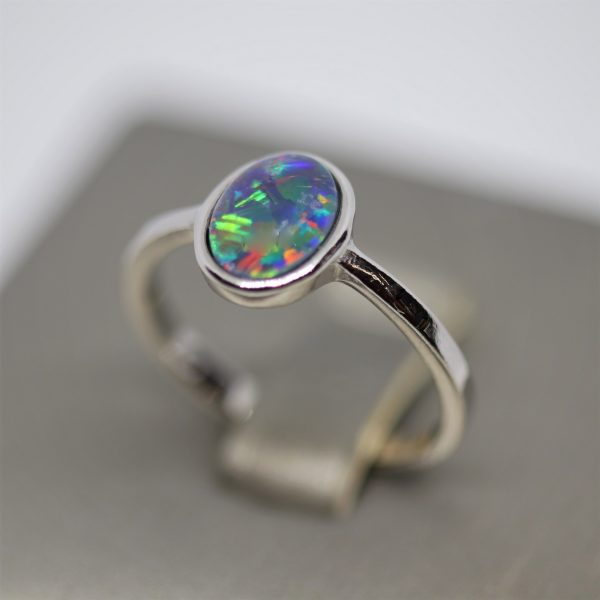 Minimalist Triplet Opal Silver Red, Purple & Green Ring