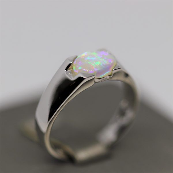 Purple Australian Solid Blue Opal Silver Ring