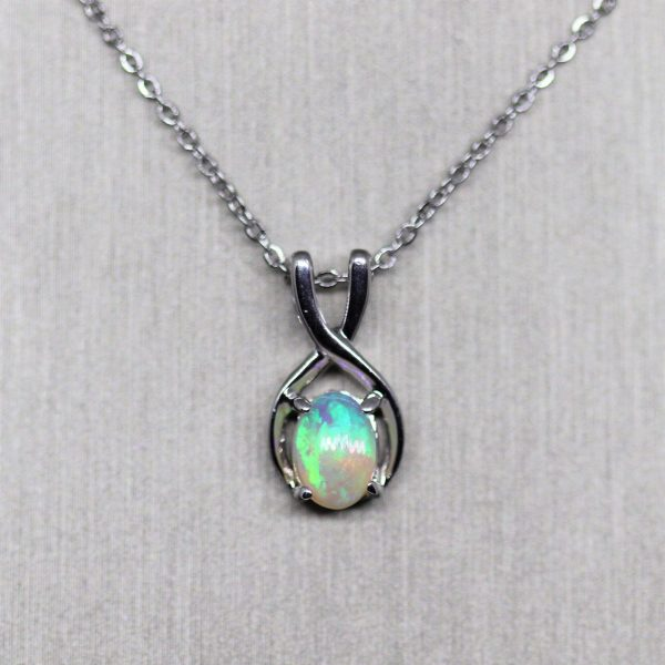 Solid Crystal Opal Silver Pendant