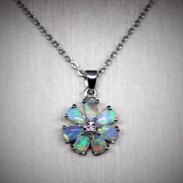 Stunning Colors Crystal Opal Silver Pendant