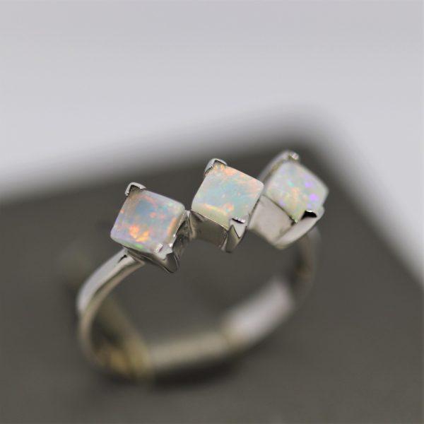 Three Opals Diamond shape Ring