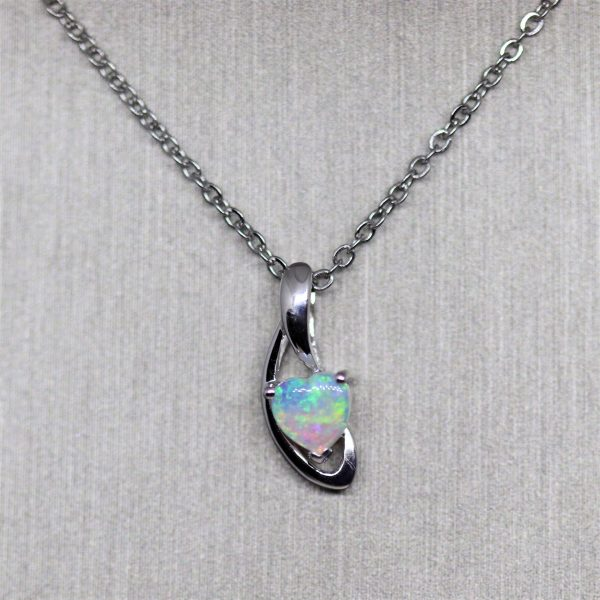White Gold Heart Opal Pendant