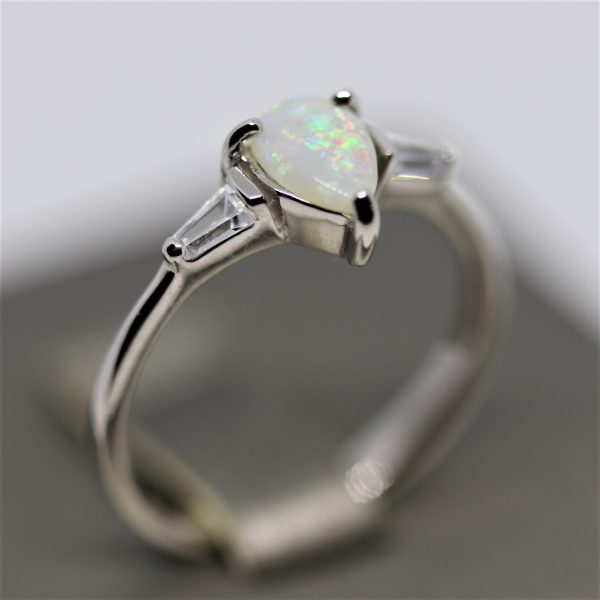 Australian Drop Solid Opal & CZ Ring -O