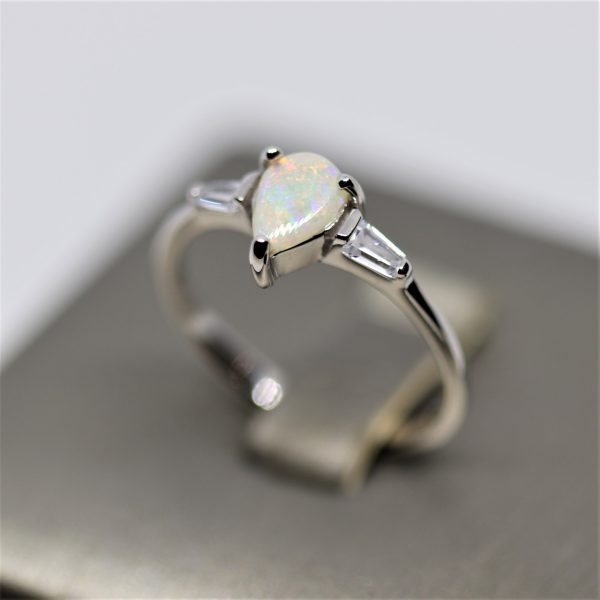 Australian Drop Solid Opal & Cz Ring
