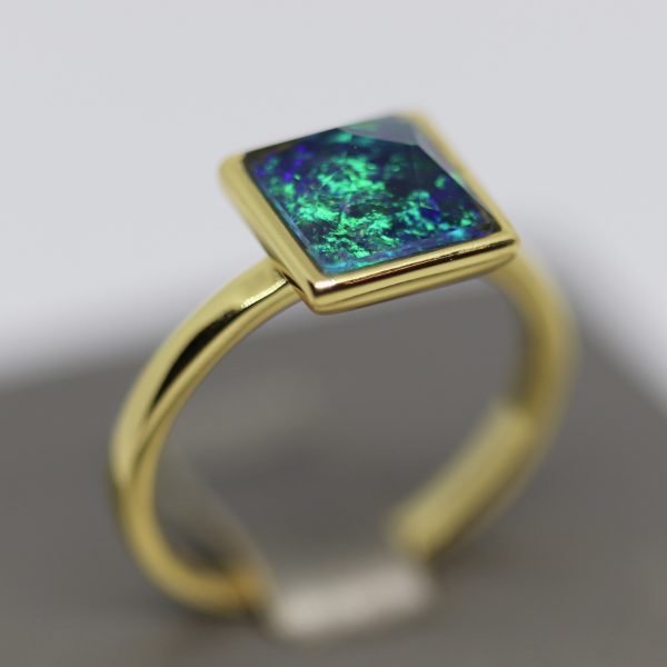 Deep Ocean Blue Gold Plated Opal Ring