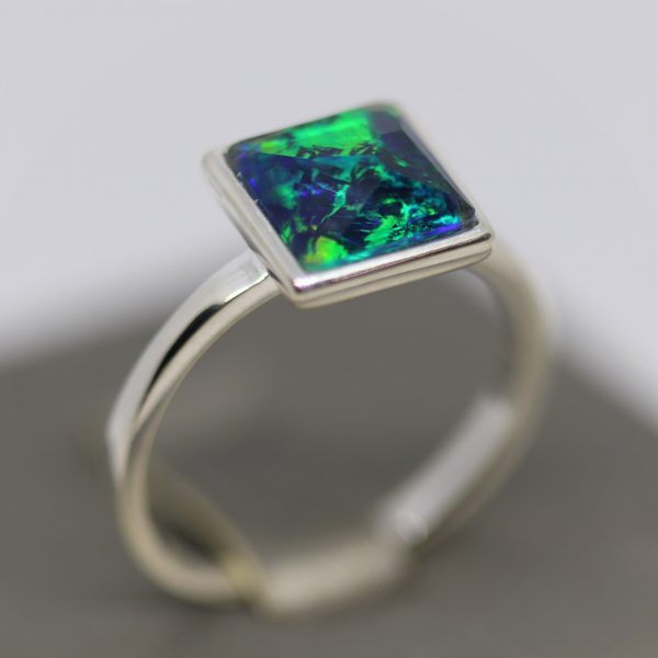 Deep Ocean Blue Square Opal Ring