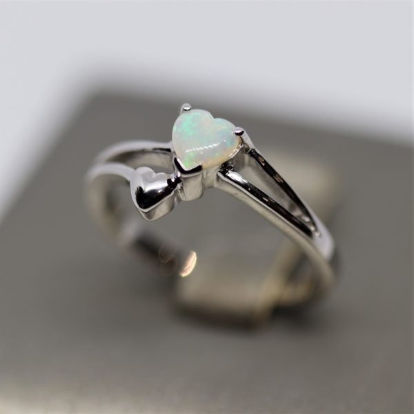 Double Heart Solid Opal Silver Ring