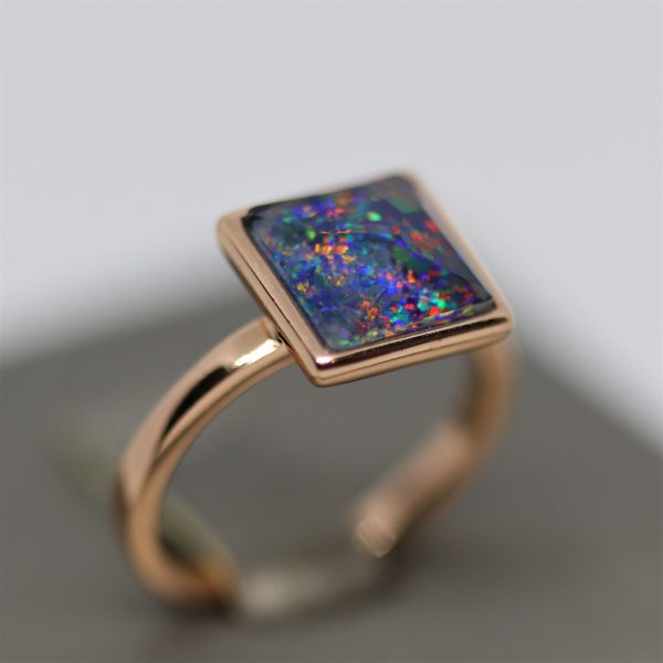 Fire Opal Square Shape Rose Gold Plated Ring