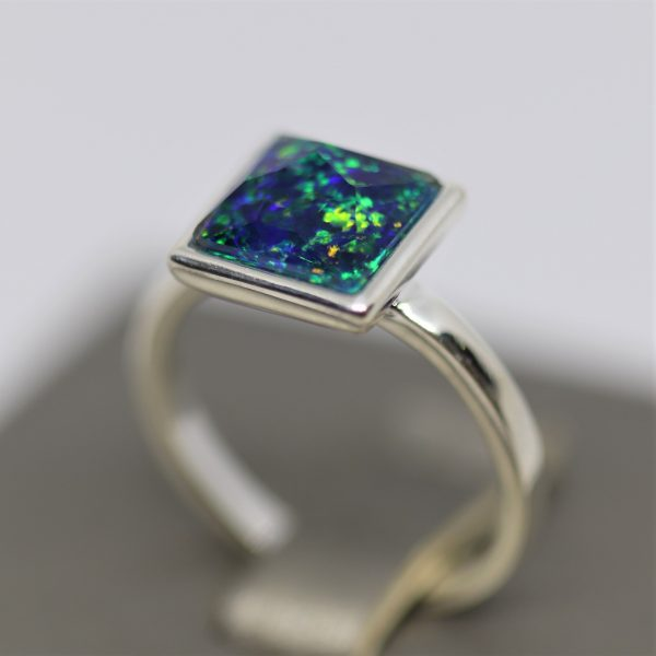 Magical Green and Blue Opal Square Silver Ring