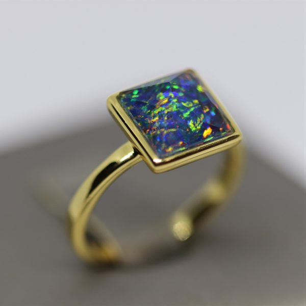 Magical Multicolor Opal 18K Gold Plated Ring
