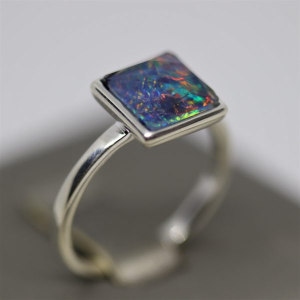 Magical Square Opal Silver Ring