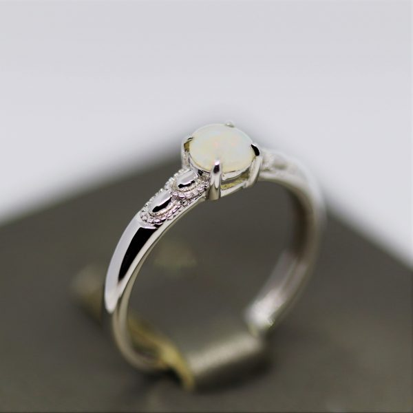 Petit Simple Solid Opal Silver Ring