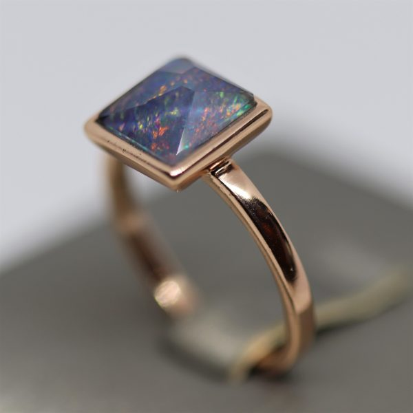 Rose Gold Square Opal Ring
