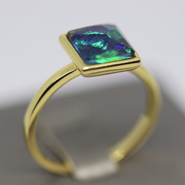 Sky Blue and Green Opal Gold Plated Ring