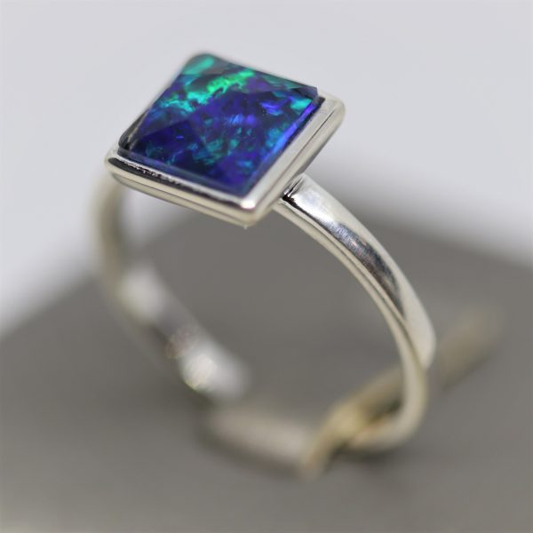 Sky Blue and Green Opal Silver Ring