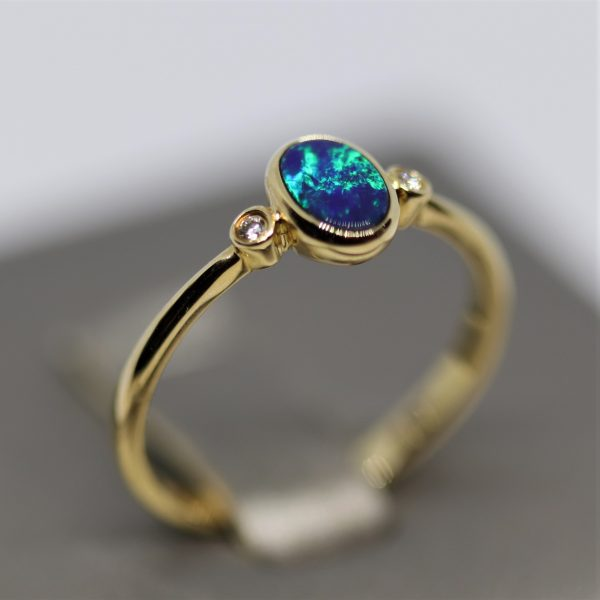 14K Gold Minimalist Green-Blue Doublet Opal & Diamonds Ring