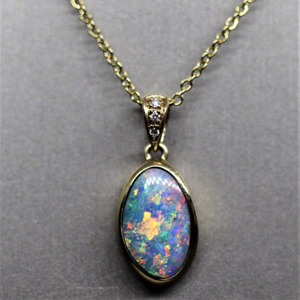 14K Oval Multicoloured Doublet & Diamonds Pendant