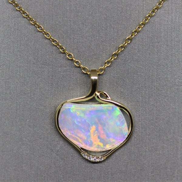 18K Gold Multicolored Crystal Opal & Diamonds Pendant