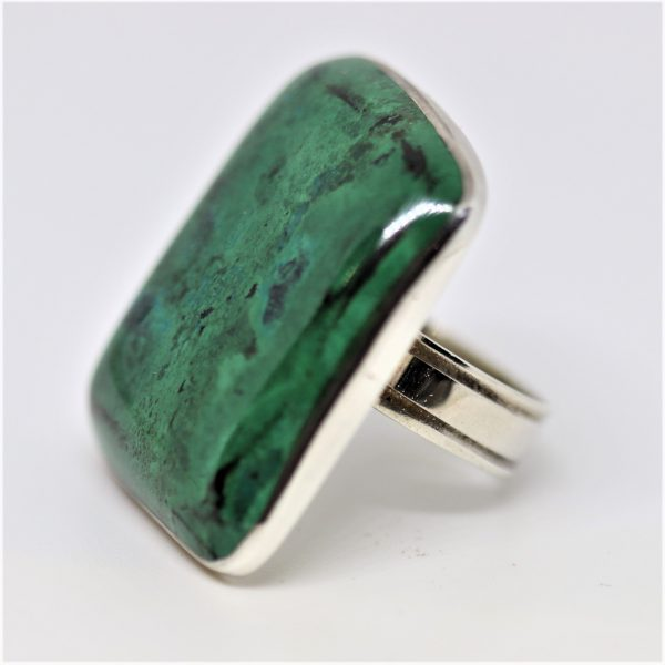 Green Chrysocolla Stone Square Silver Ring