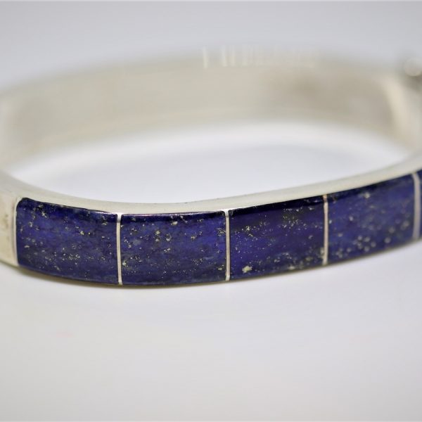 Reversible Lapislazuli & Chrysocolla Silver Bangle