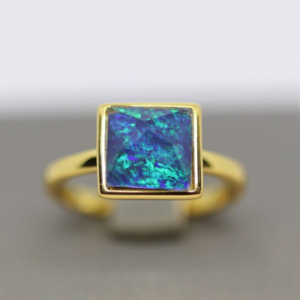 Sky Light Blue and Green Opal Gold Plated Ring