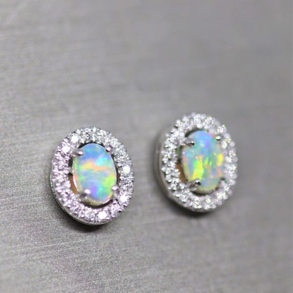 18K Gold Rainbow Crystal Opal & Diamonds Earrings