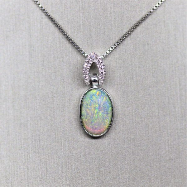 18K Green Crystal Opal & Diamonds Pendant