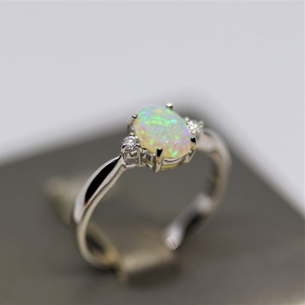 18K White Gold Crystal Opal & Diamonds Ring