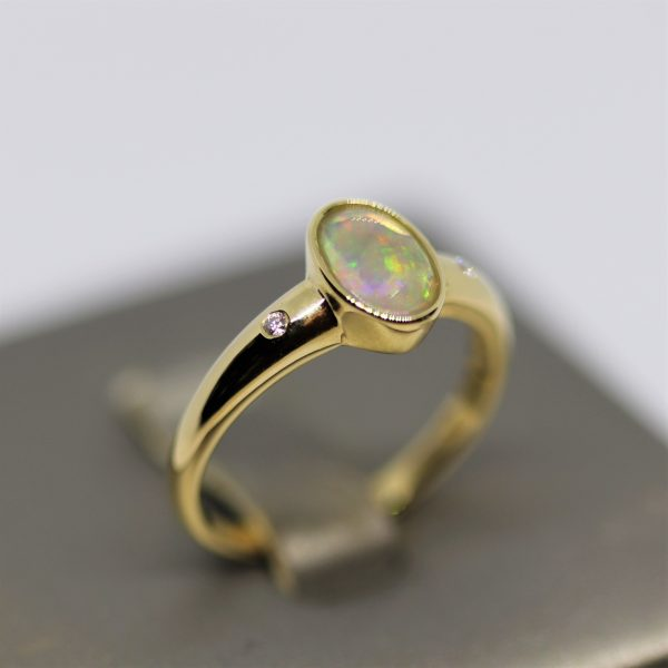 9K Gold Crystal Opal & Diamonds Ring