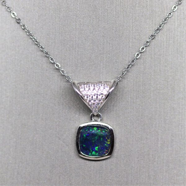 Gorgeous Green Opal & Diamonds Silver Pendant