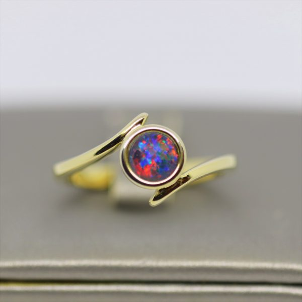 Australian Round Fire Triplet Opal Gold Plated Ring
