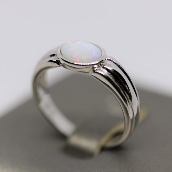 Australian Solid Opal Band Ring