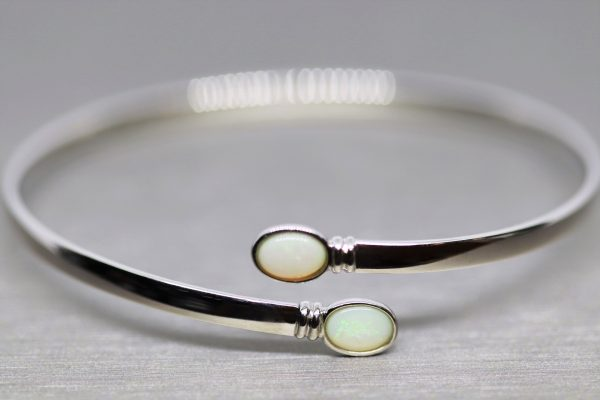Elegant Green Double Solid Opal Silver Bangle
