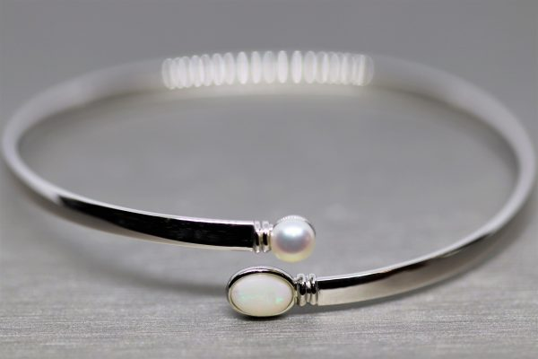 Elegant Solid Opal & Pearl Silver Bangle