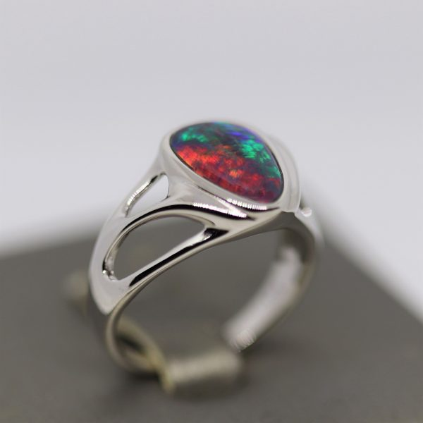 Marble Red & Blue Triplet Opal Silver Band Ring
