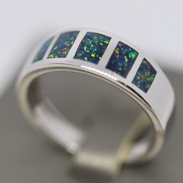 Luxury Inlay Doublet Opal Men Ring