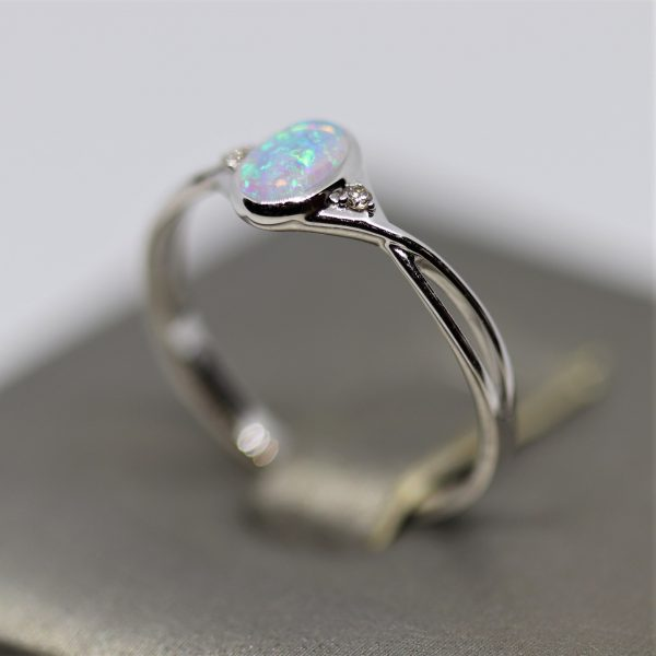 18K White Gold Delicate Solid Opal Cross Band & Diamonds Ring