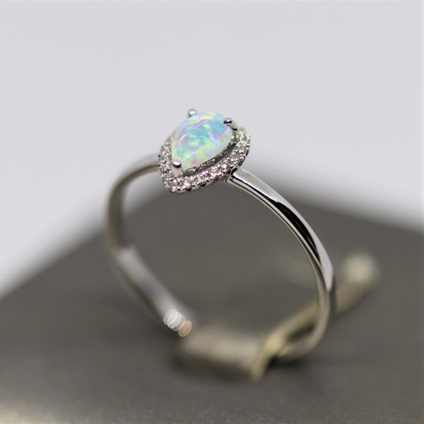18K White Gold Drop Solid Opal & Diamonds Ring