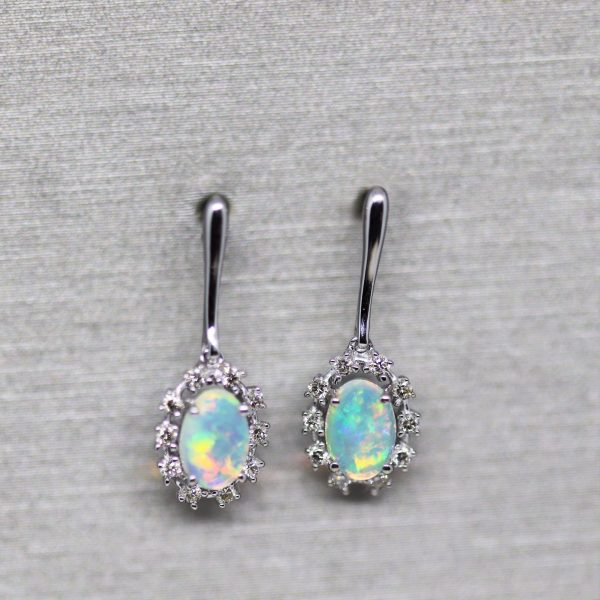 18K White Gold Solid Opal & Diamonds Hanging Earrings
