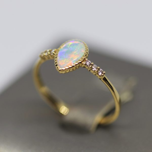 18K Yellow Gold Delicate Solid Opal Drop & Diamonds Ring