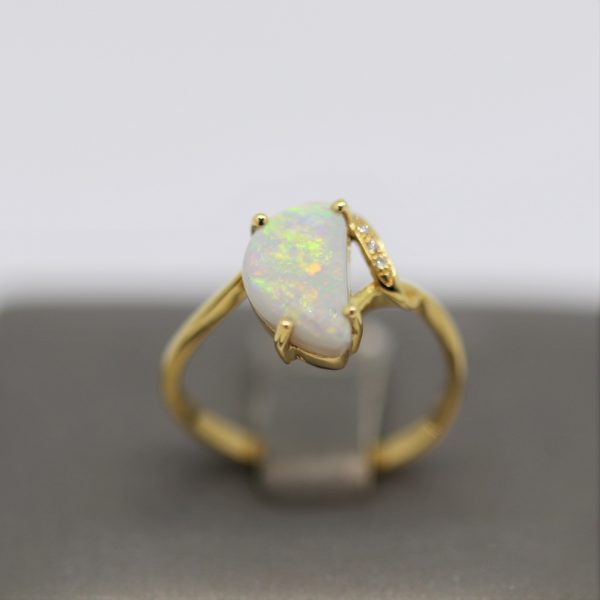 18K Yellow Gold Multicolor Free Form Solid Opal & Diamonds Ring