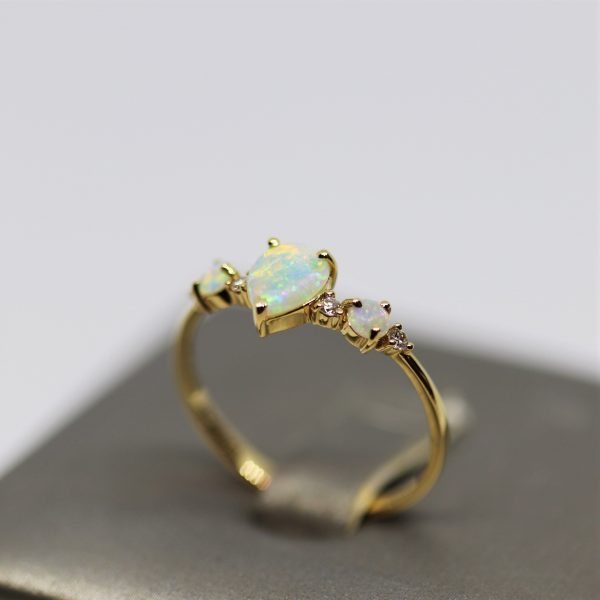 18K Yellow Gold Royal Solid Opal & Diamonds Ring