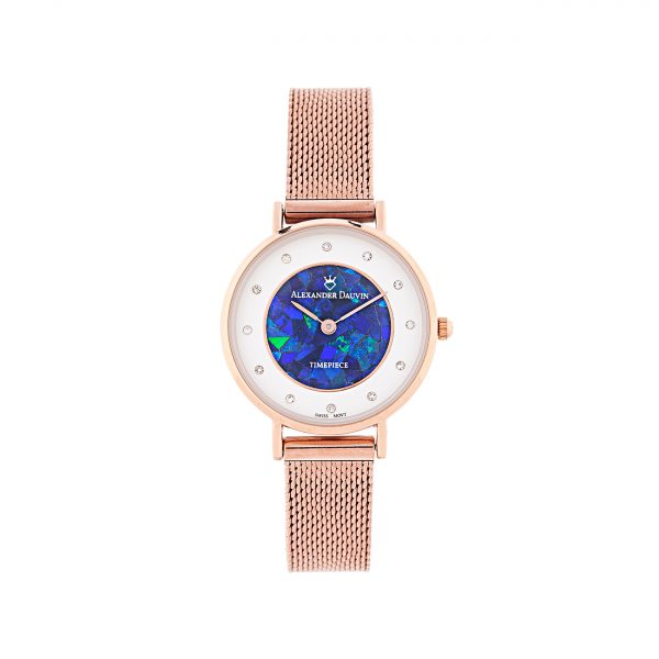 Treasure Cliff Blue Opal Watch - Rose Gold 28mm