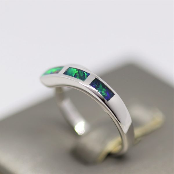 Australian Blue & Green Inlay Doublet Opal Silver Crossed Band Ring
