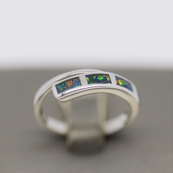 Australian Multicolor Inlay Doublet Opal Silver Crossed Band Ring