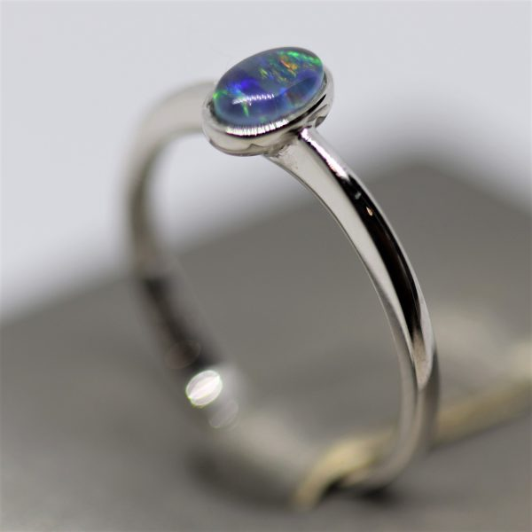 Australian Small Triplet Multicolor Opal Silver Ring