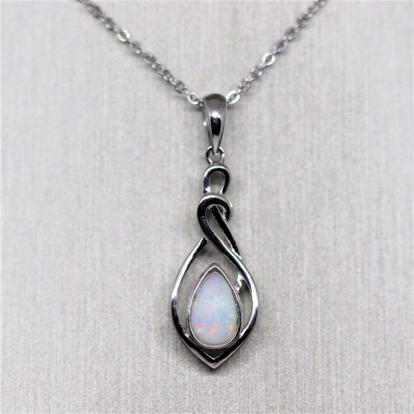 Australian Spiral Red Solid Crystal Opal Silver Pendant