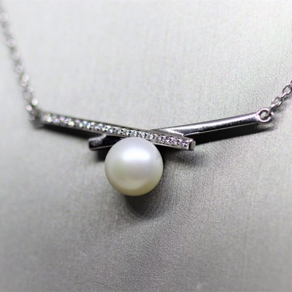 Freshwater Pearl & CZ Rhodium plated Pendant